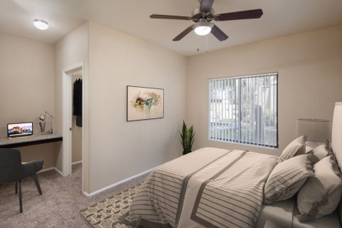 Bedroom and Built In Shelf for an Office Nook at Camden Pecos Ranch Apartments in Chandler, AZ