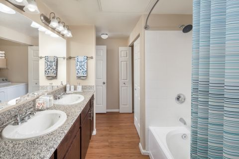 Double Vanity Bathroom at Camden Pecos Ranch Apartments in Chandler, AZ