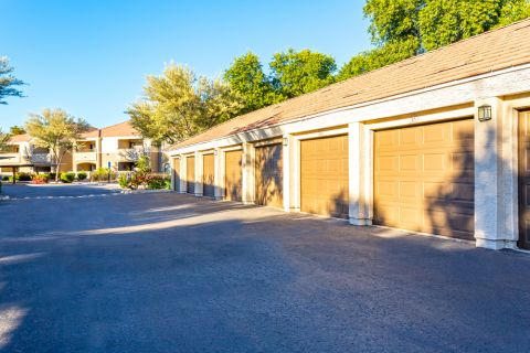 Garages at Camden Pecos Ranch Apartments in Chandler, AZ