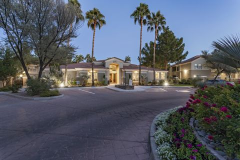 Entrance to Leasing Office at Dusk at Camden Pecos Ranch Apartments in Chandler, AZ