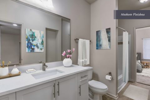 Bathroom with Modern Finishes at Camden Phipps Apartments in Atlanta, GA