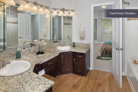 Double Vanity Bathroom with Traditional Finishes at Camden Phipps Apartments in Atlanta, GA