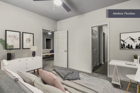 Bedroom with Modern Finishes at Camden Phipps Apartments in Atlanta, GA