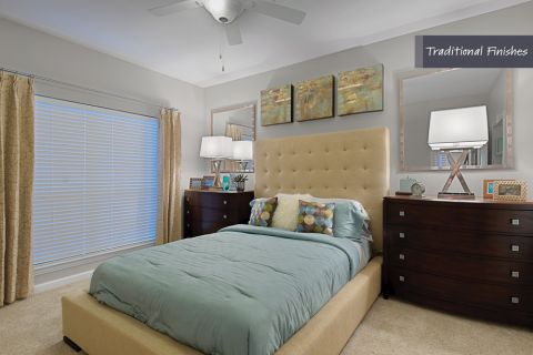 Bedroom with Traditional Finishes at Camden Phipps Apartments in Atlanta, GA