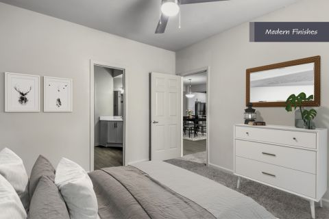 Second Bedroom with Modern Finishes at Camden Phipps Apartments in Atlanta, GA
