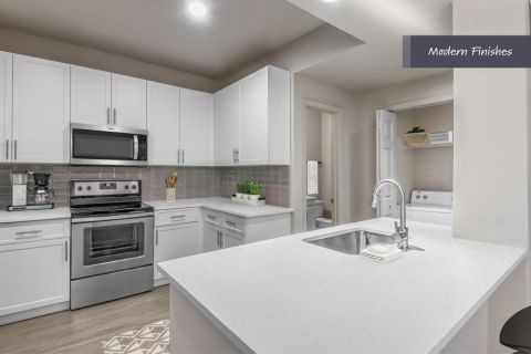 Kitchen with Modern Finishes at Camden Phipps Apartments in Atlanta, GA