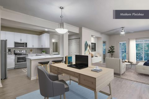 Flexible work from home space with Modern Finishes at Camden Phipps Apartments in Atlanta, GA