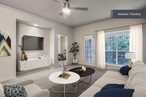 Living Room with Modern Finishes at Camden Phipps Apartments in Atlanta, GA