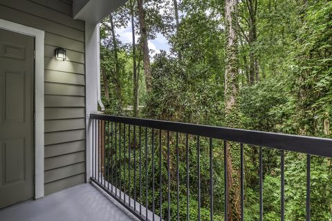 Patio with wooded view at Camden Phipps Apartments in Atlanta, GA
