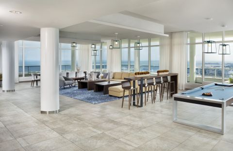 Sky Lounge with Billiards at Camden Pier District Apartments in St. Petersburg, FL