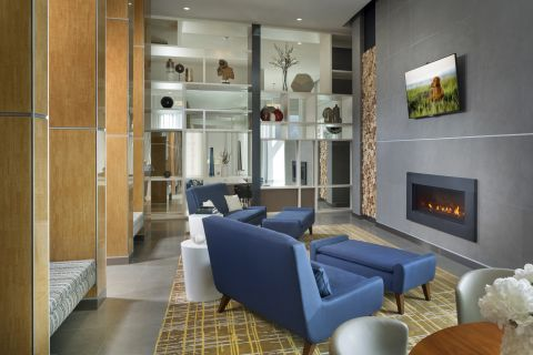 Fireplace Lounge at Camden Pier District Apartments in St. Petersburg, FL