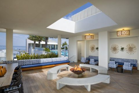 Firepit lounge at Camden Pier District Apartments in St. Petersburg, FL