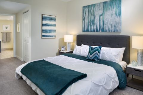 Bedroom at Camden Pier District Apartments in St. Petersburg, FL