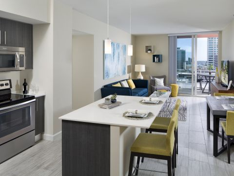 Kitchen and Living Room at Camden Pier District Apartments in St. Petersburg, FL