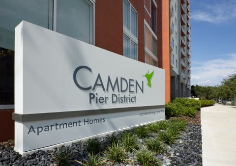 Monument Sign at Camden Pier District Apartments in St. Petersburg, FL