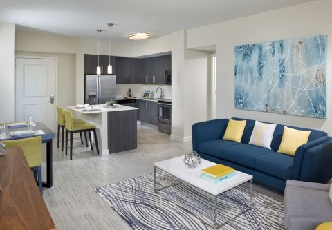 Open Concept Kitchen with Island at Camden Pier District Apartments in St. Petersburg, FL