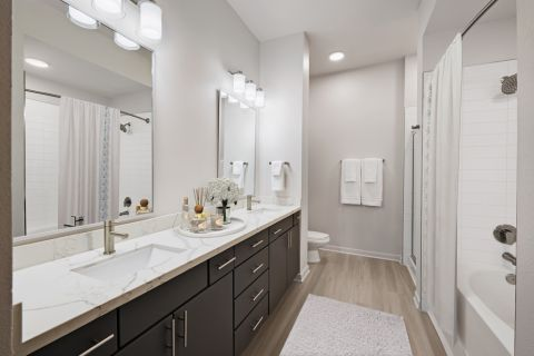 Modern style bathroom at Camden Plaza Apartments in Houston, TX