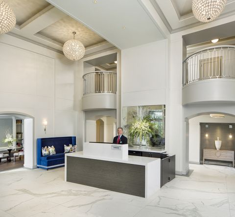 Concierge in Lobby Entrance at Camden Post Oak Apartments in Houston, TX