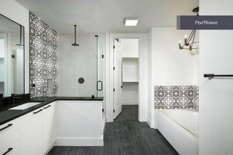 Penthouse Bathroom at Camden Post Oak Apartments in Houston, TX