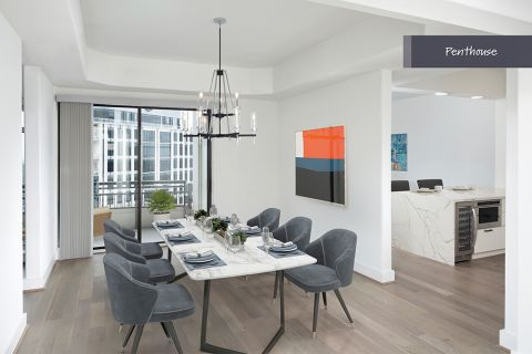 Penthouse Dining Room at Camden Post Oak Apartments in Houston, TX