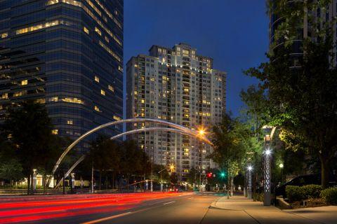 High Rise Apartments Exterior at Twilight, Camden Post Oak Apartments in Houston, TX