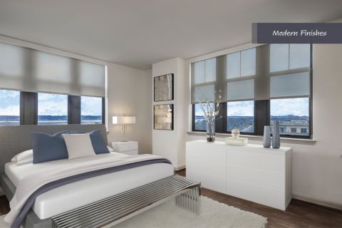 Modern Bedroom at Camden Potomac Yard Apartments in Arlington, VA