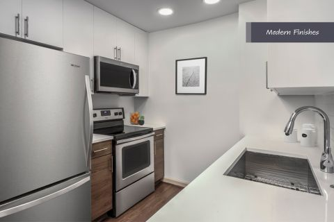 Modern kitchen with stainless steel appliances at Camden Potomac Yard Apartments in Arlington, VA