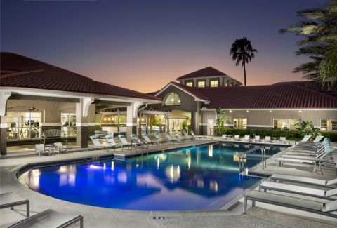 Pool at night at Camden Preserve Apartments in Tampa, FL