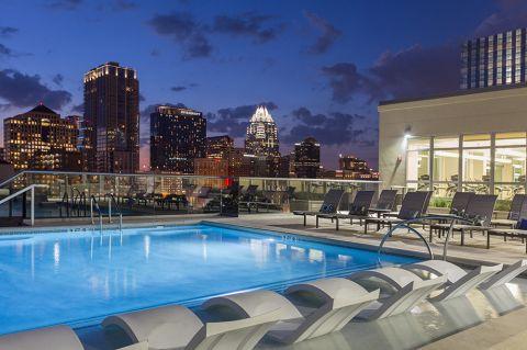 Camden Rainey Street apartments in Austin, TX Pool at Nighttime