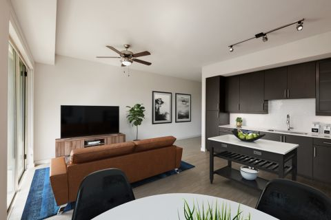 1BR Kitchen at Camden Rainey Street apartments in Austin, TX