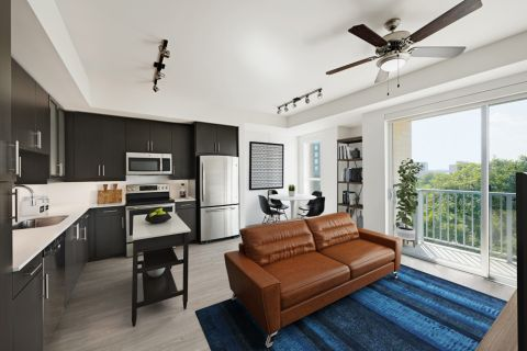 Open-concept style living in a 1BR at Camden Rainey Street apartments in Austin, TX