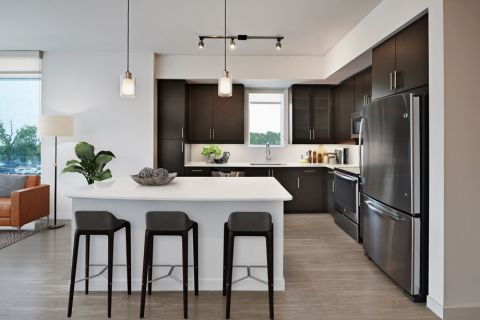 2BR Kitchen with stainless steel appliances at Camden Rainey Street apartments in Austin, TX