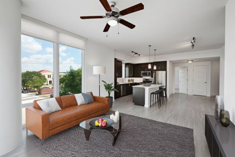 2BR Living Room and Kitchen at Camden Rainey Street apartments in Austin, TX