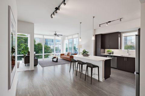 2BR Kitchen at Camden Rainey Street apartments in Austin, TX