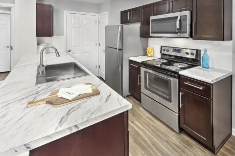 Upgraded Kitchen at Camden Reunion Park Apartments in Apex, NC