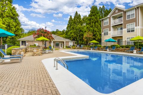 Main Pool with Grilling Area at Camden Reunion Park Apartments in Apex, NC