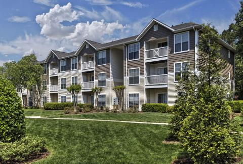 Lush Landscaping at Camden Reunion Park Apartments in Apex, NC