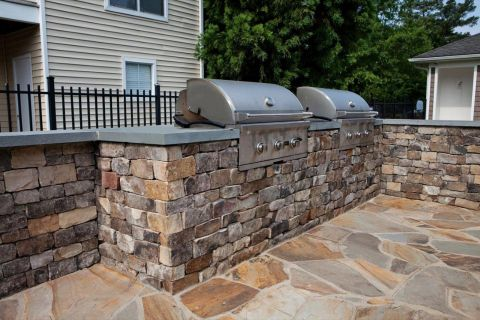 Outdoor Grill Stations at Camden Reunion Park Apartments in Apex, NC