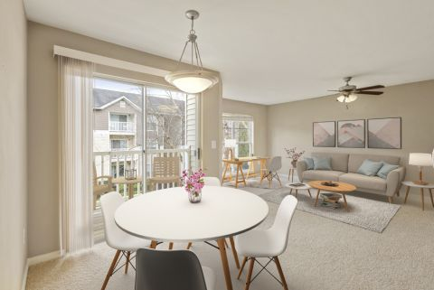 Dining and Living Area with Home Office Space at Camden Reunion Park Apartments in Apex, NC