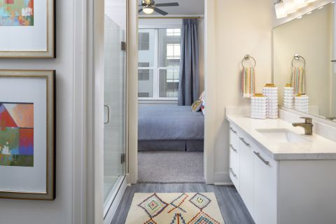 Bathroom with stand-alone shower at Camden RiNo apartments in Denver, CO