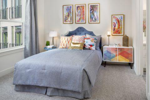 Bedroom at Camden RiNo apartments in Denver, CO