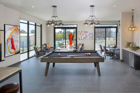 Club room with billiards at Camden RiNo apartments in Denver, CO
