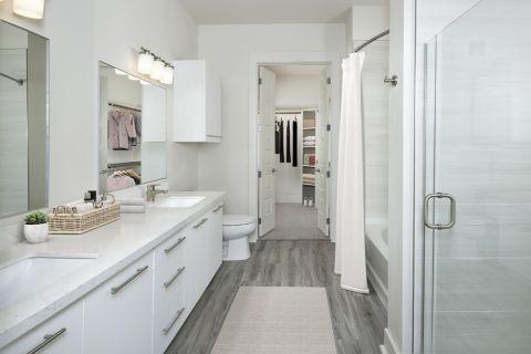Double vanity sink bathroom at Camden RiNo apartments in Denver, CO
