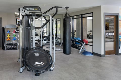 Fitness center at Camden RiNo apartments in Denver, CO