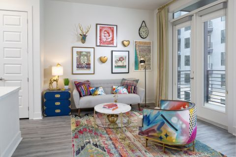 Spacious living room at Camden RiNo apartments in Denver, CO