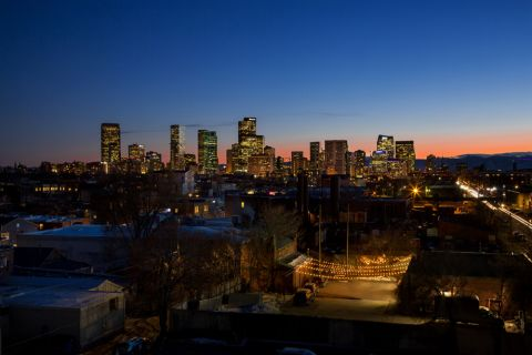 Skyline views at dusk at Camden RiNo apartments in Denver, CO
