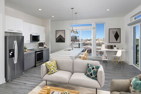 Living room at Camden RiNo apartments in Denver, CO