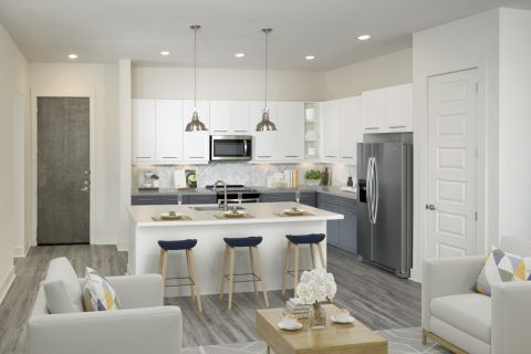 Spacious kitchen at Camden RiNo apartments in Denver, CO