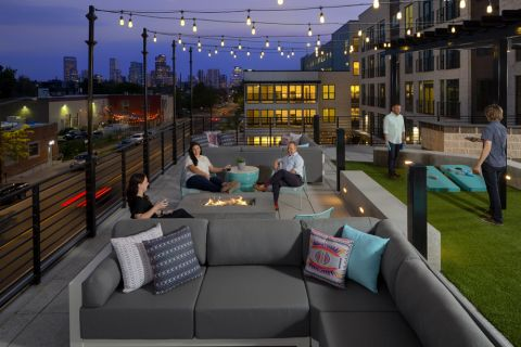 Top deck at twilight at Camden RiNo apartments in Denver, CO