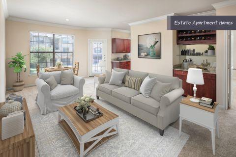 Estate Living room at Camden Riverwalk Apartments in Grapevine, TX
